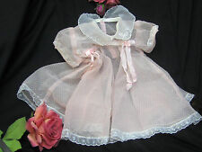 VINTAGE 1950 pink SWISS DOT embroidered organdy DOLL DRESS baby clothes & SLIP