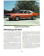 1971 Dodge Challenger R/T 426 Hemi Article - Must See !!