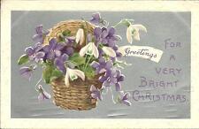 CHRISTMAS GREETINGS - VIOLETS IN BASKET (EMBOSSED POSTCARD) 1908