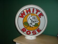 WHITE ROSE WITH FLOWER GAS PUMP GLOBE