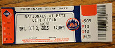 NY Mets Washington Nationals 10/3/15 FULL ticket Max Scherzer 2nd NO HITTER