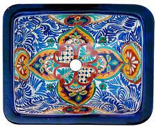 SQ#132) MEXICAN RECTANGLE BATHROOM SINK TALAVERA HAND MADE CERAMIC BASIN