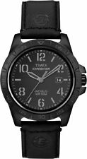 Timex Men's Expedition Analog Quartz Black Brass Case, Leather Watch T49927