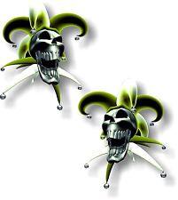 Vinilo STICKER/DECAL extra pequeño 50mm bufón riendo cráneo amarillo-Par