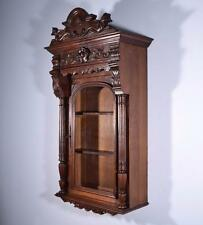 Antique French Wall/Display/Bar Cabinet in Highly Carved Walnut with Griffins