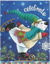 Celebrate Season Christmas Polar Bear Skate 100 pc Bagged Boxless Jigsaw Puzzle