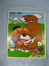 Ernie And Barkley Wooden Puzzle Vintage Toy Sesame Street Playskool Muppets (O)