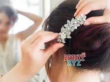 beautiful elegant wedding bridal barrette pearl and crystal hair clip for party