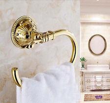 Wall Mount Gold Brass Bathroom Towel Rack Holder Towel Bar Hangers Flower Carved