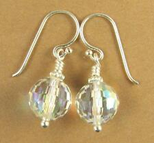 Crystal rainbow disco ball earrings. Made w/ Swarovski Elements. Silver 925.