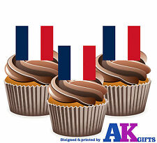 France French Flag - 12 Edible Wafer Cake Toppers Decorations Celebrations Party