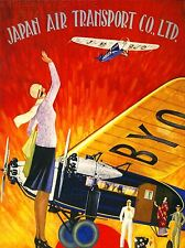PRINT POSTER TRAVEL AIRLINE JAPANESE PLANE AEROPLANE WAVE WING JAPAN NOFL1300