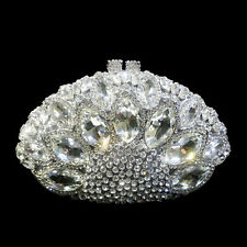 Unique Diamante Diamond Crystal Evening Bag Clutch Purse Party Silver Handbag