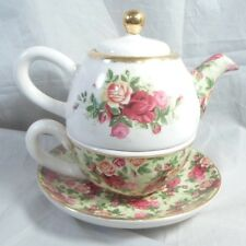 Royal Albert Old Country Roses Individual Tea for One Teapot Cup & Saucer