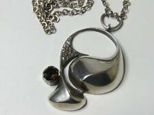 Vintage Sten & Laine Sterling Silver Modernist Pendant Necklace Smoky Quartz
