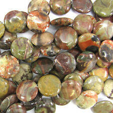 "20mm natural Australian agate coin beads 15"" strand"
