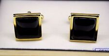 Geoffrey Beene Cufflinks Gold-Tone w/ Black Onyx Stone Display Box
