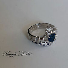 Ravenclaw House crown Ring Blue crystal Claddagh friendship angel silver ring