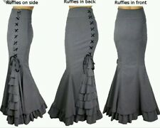 New Grey High Waist Gothic Steam Punk Lace Up Vintage Fishtail Skirt size 18 20