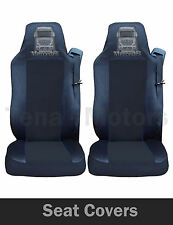 2 x MERCEDES ACTROS AXOR Seat Covers Tailored HGV Truck Lorry Black / Black LOGO