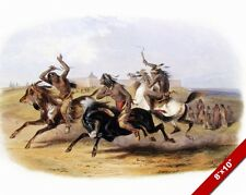 NATIVE AMERICAN SOUIX INDIAN INDIANS HORSE RACING PAINTING ART REAL CANVAS PRINT