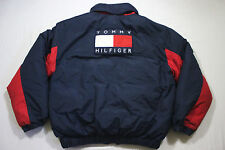 Sz M Vtg 90's TOMMY HILFIGER Big Flag Reversible Spellout Down OG Hip Hop Jacket