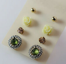 8pcs/Set Fashion Hollow Twist Green Crystal Rose Metal Ball Lady Party Earrings