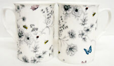 Secret Garden Mugs Set of 4 Bone China Floral Butterfly Mugs Hand Decorated UK