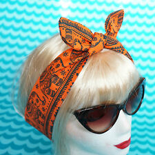 Head Hair Scarf Orange Elephants Hippy Inca Boho Headband 50s Band FESTIVAL