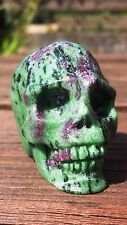 Natural Tanzanian Ruby Zoisite Hand Carved Realistic Crystal Skull 138g