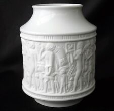 KPM Germany Bisque Porcelain Relief Panel Egyptian 60s Vase
