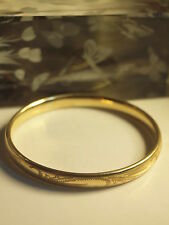 GENUINE-SOLID 9CT YELLOW GOLD (SILVER FILLED (375)) LADIES BANGLE DIAMETER 66 MM