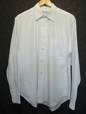 MISSONI Men's White / Blue Striped Button Front Long Sleeve Collared Shirt SZ 16