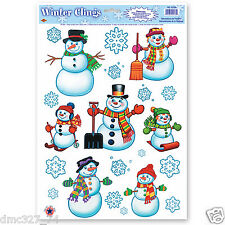 1 Sheet CHRISTMAS WINTER Holiday Party Decoration WINDOW CLINGS Cling SNOWMAN