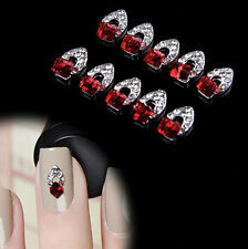 10Pcs 3D Rhinestone Crystal Alloy Charms DIY Decoration Tips Nail Art Stickers