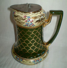 RARE ANTIQUE VICTORIAN SHIPS OR BARGE LUSTRE WATER JUG WITH CLARKE'S PATENT LID