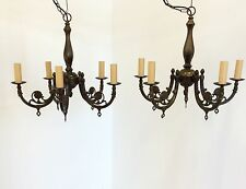 Antique Style Pair of Brass Chandeliers