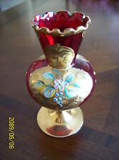 COLLECTIBLE BOHEMIAN/CZECH RUBY RED HEAVY GOLD GILT ENAMELED ART GLASS VASE