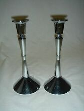 Pair of Tall Silverplated Candlesticks - Vintage Hallmark Card Co Candle Holders