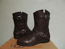 UGG FRANCES BROWN 2-TONE LEATHER / SHEARLING BUCKLE BOOTS, US 7/ EUR 38  ~NEW