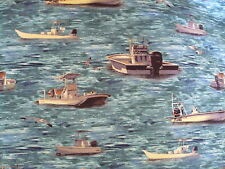 Cotton Material - Fishing Boats - 55 x 50cm - Fat Quarter