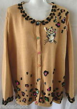 Storybook Knit Sweater Cardigan 2X Plus Yellow Leopard Cat Sequins Beads HSN