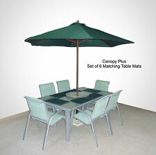 9FT Patio Outdoor Umbrella Replacement  Canopy Cover W/Placemats 8 Ribs Green