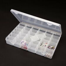 28 COMPARTMENTS DIVIDERS STORAGE BOX CASE FOR BEAD JEWELLERY NAIL ART CRAFT