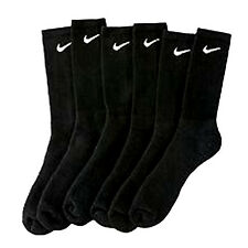 Lowest Price Nike Black Crew Socks  Athletic Cotton Mens Shoe Size 8-12  3 Pair