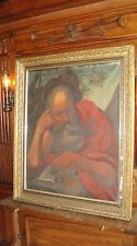 ANTIQUE FRENCH 19th C SAINT ST PAUL PORTRAIT OIL on CANVAS RELIGIOUS PAINTING