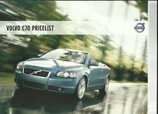 VOLVO C70 DETAILED PRICES, SPECIFICATIONS, COLOURS,ACCESSORIES BROCHURE NOV 2007