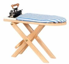 Dollhouse Miniature -Wooden Ironing Board Table W/ Vintage Metal Iron 1:12 Scale