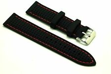 "22mm Black Rubber Red Stitching ""Breath"" Sports Watch Strap - Free Spring Bars"