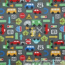 BonEful Fabric FQ Flannel Cotton Quilt Gray Camper RV Route 66 Boy Car Bus Truck